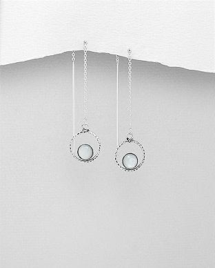 Sterling Threader Earrings W/MOP