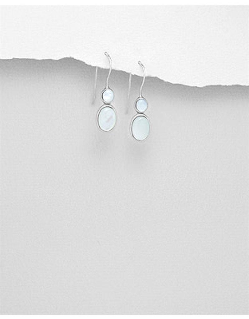 Sterling Double MOP Drop Earrings