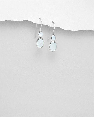 Sterling Double MOP Drop Earrings
