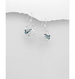 Sterling Abalone Wave Drop Earrings