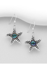 Sterling Abalone Starfish Drop Earrings