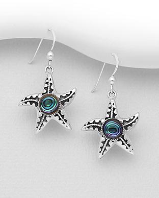 Sterling Abalone Starfish Drop Earrings