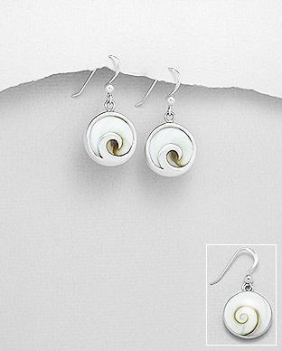 Sterling Eye Of Shiva W/Wave Drop Earrings