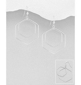 Sterling Hexagon Drop Earrings