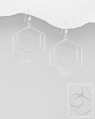 Sterling Hexagon Drop Earrings
