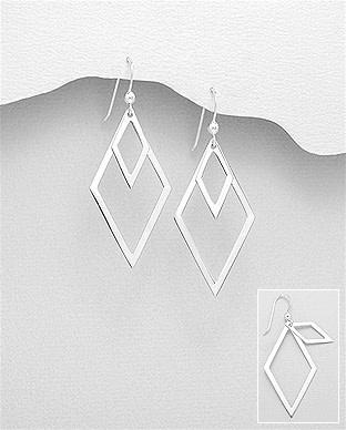 Sterling Double Diamond Drop Earrings