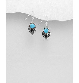 Sterling Drop Earrings with Colour (More colours)
