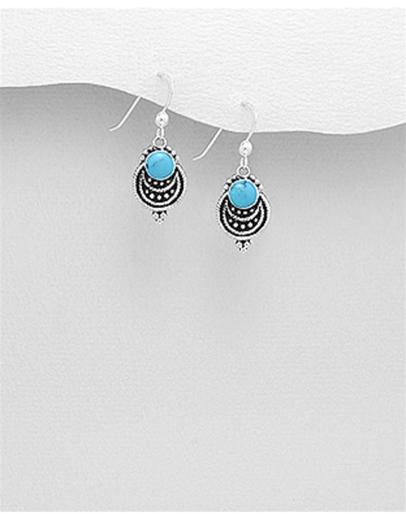 Sterling Drop Earrings with Colour
