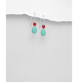 Sterling TQ& Red Drop Earrings