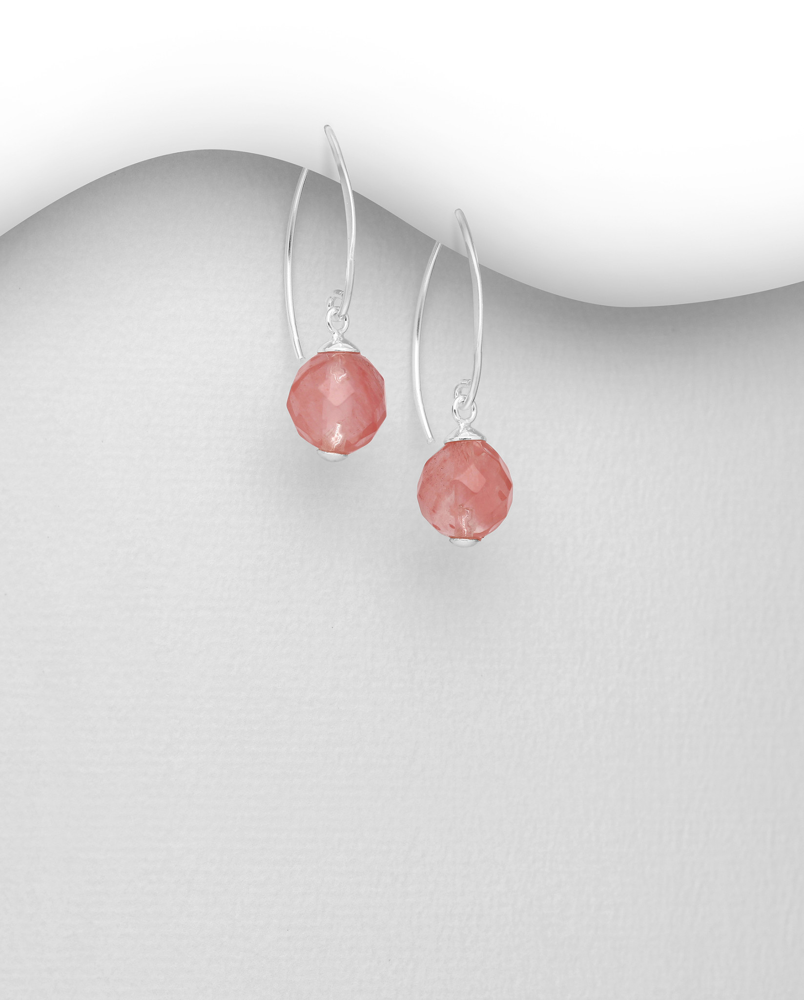 Sterling Cherry Quartz Drops