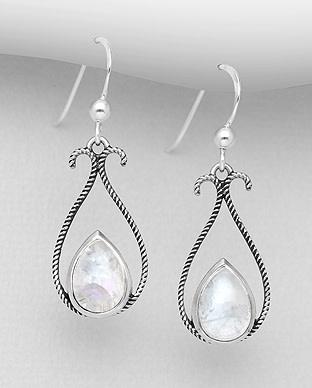 Sterling Drops W/Moonstone Earrings
