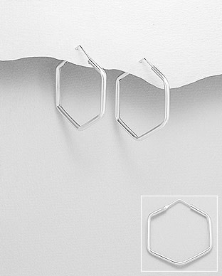 Sterling Hexagon Hoop Earrings