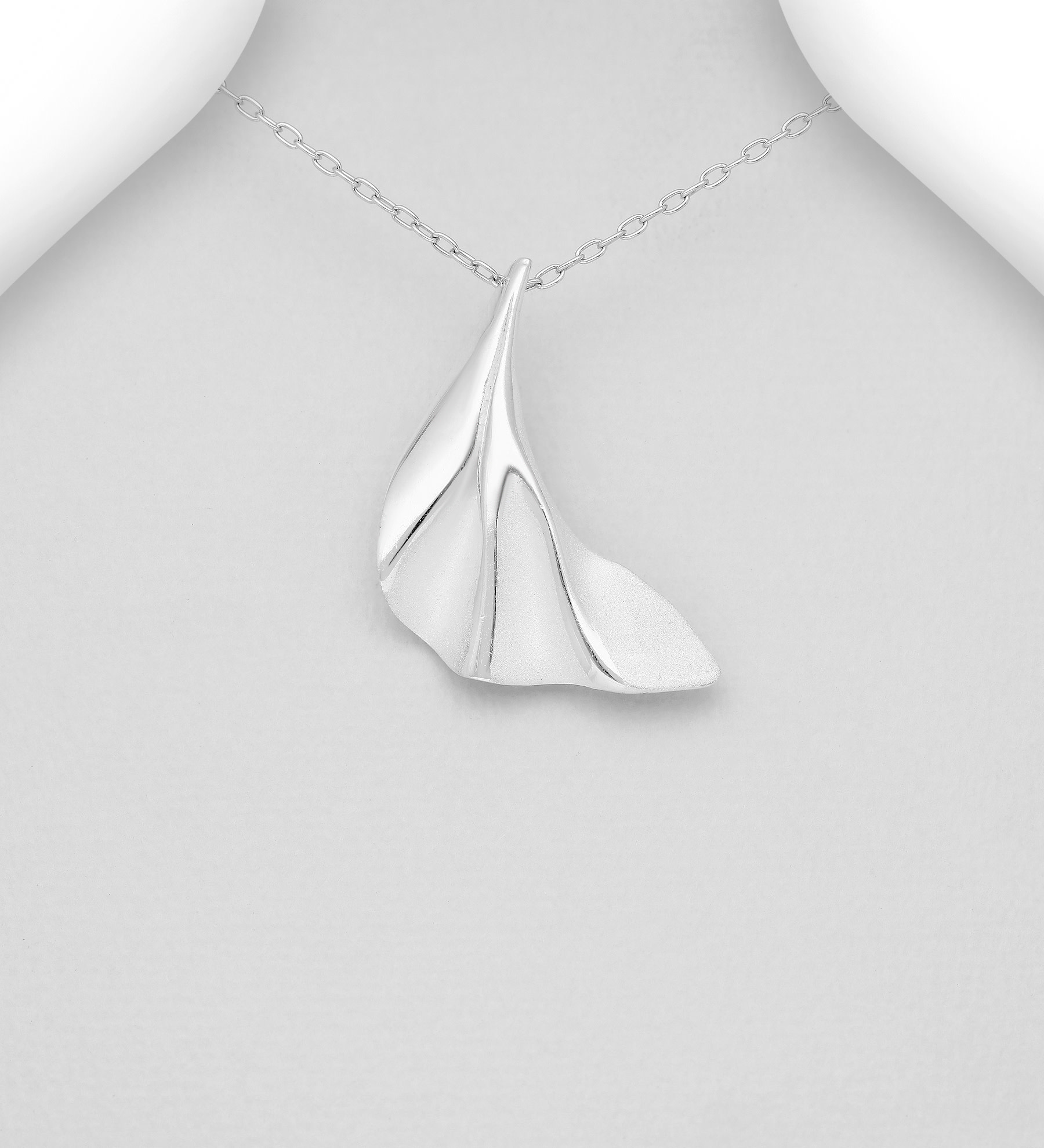 Sterling Necklace- Silver Curved
