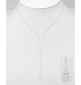 Sterling Necklace- Cz/bar Lariat