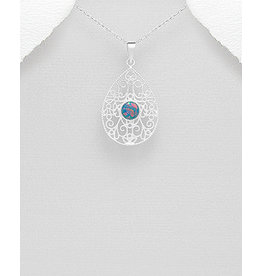 Sterling Opal Filigree Necklace