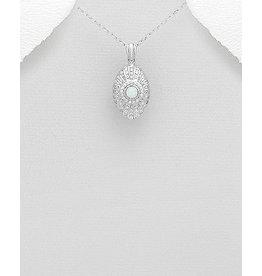 Sterling Filigree W/Opal & Cz Necklace