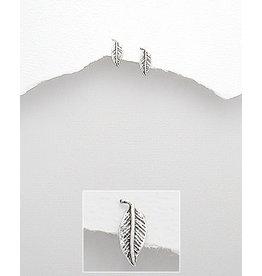 Sterling studs- sterling leaf