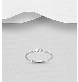 Sterling Ring- Hammered Band w/ CZ
