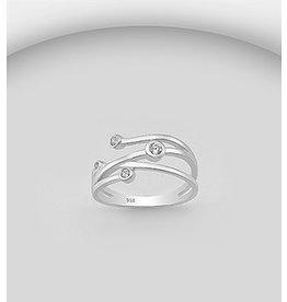 Sterling Ring- Split Band w/ CZ