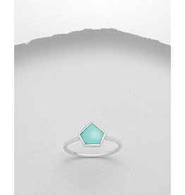 Sterling Ring- Pentagon w/Turquoise