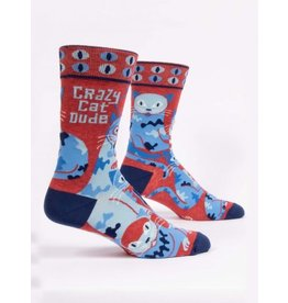 Blue Q Men's Socks-Crazy Cat Dude