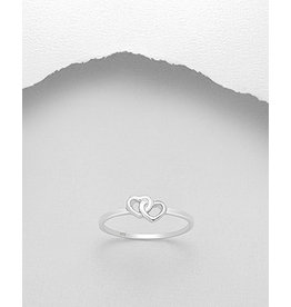Sterling Sterling Ring- Double Heart