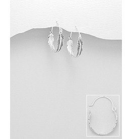Sterling Hoops:  Feathers