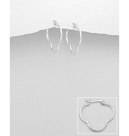 Sterling Hoops:  Clover Shaped