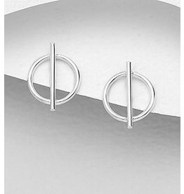 Sterling Studs- Circle W/Bar