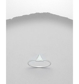 Sterling Ring-  MOP Triangle