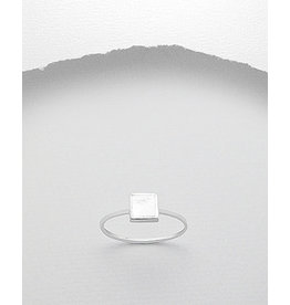 Sterling Sterling Ring-MOP Square