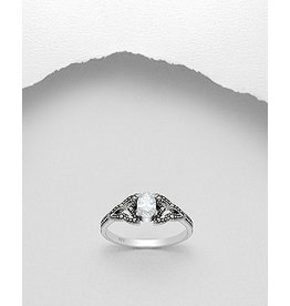 Sterling Sterling Ring -Marcasite & Glass