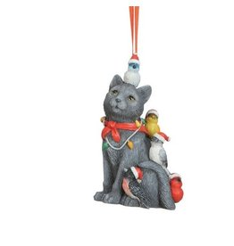 Creative Co-op Ornament- Resin Animal w/ Birds