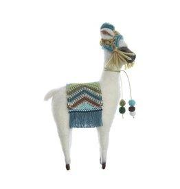 Creative Co-op Ornament- Wool Felt Llama White