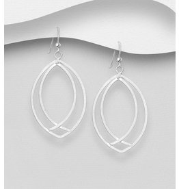 Sterling Sterling Matte Double Oval Drop Earrings