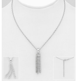 Sterling CZ Tassel Necklace