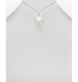 Sterling Necklace w/ Square Swarovski Crystal