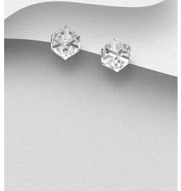 Sterling Earrings w/ Square Swarovski Crystal