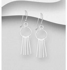Sterling Earrings Circle W/Bar