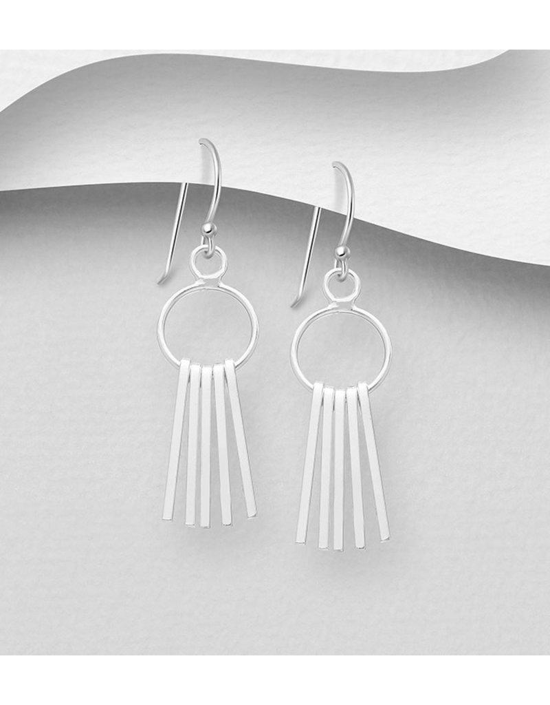 Sterling Earrings Circle W/Bar
