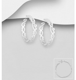Sterling Patterned Hoops