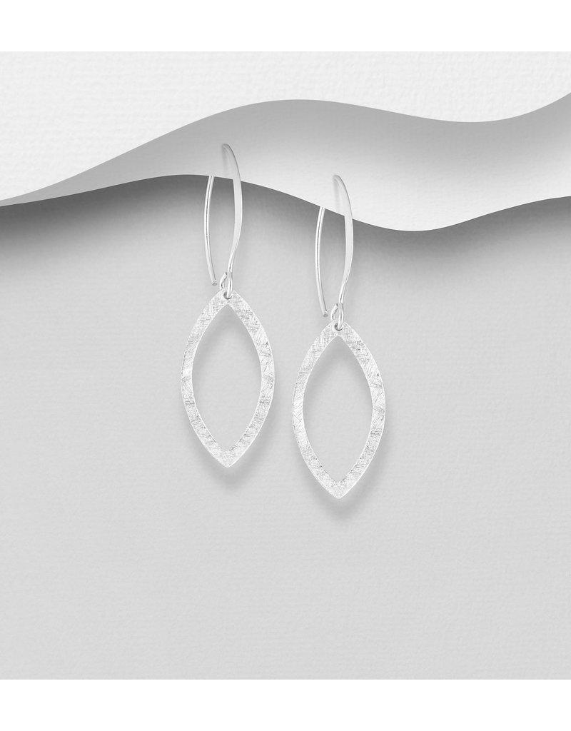 Sterling Drop Hoops W/Hammered Diamond