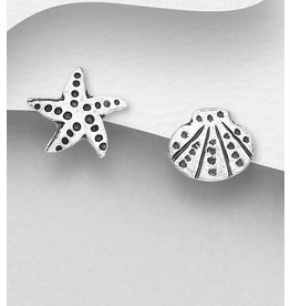 Sterling Studs- shell and starfish