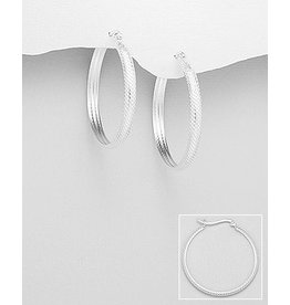 Sterling Sterling Hoops W/Texture