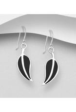 Sterling Black Resin Leaf Earrings