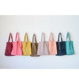Creative Co-op Cotton Velvet Jewel Tote Bag