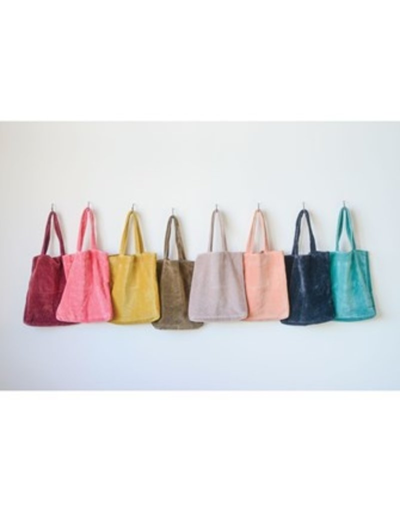 Creative Co-op Cotton Velvet Jewel Tote Bag