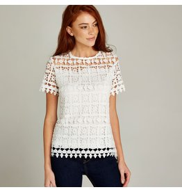 Apricot Samantha Lace Short Sleeve Top
