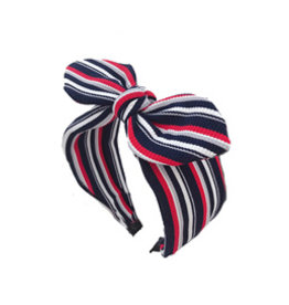 E&S Accessories Striped Hairband Large w/Bow (More Colours)
