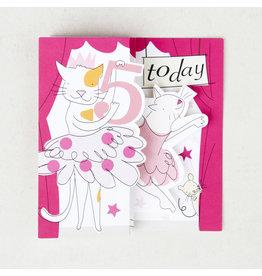 Caroline Gardner Card- 5 Today (Ballerina Cats)
